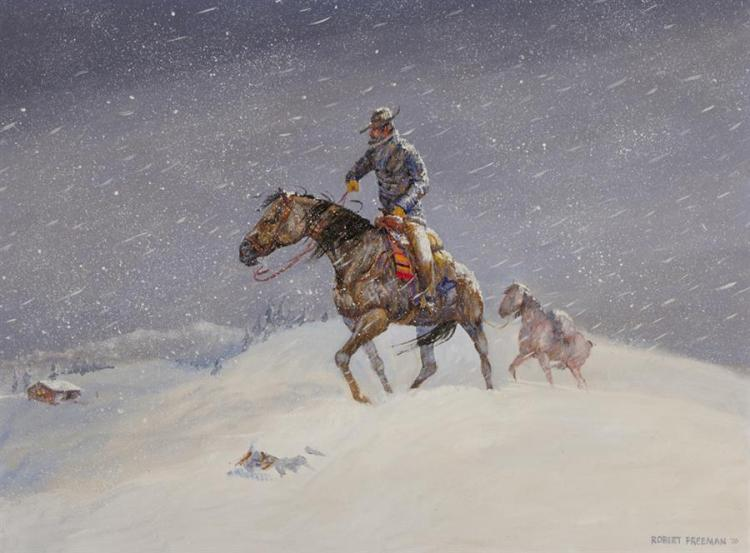 Robert Freeman, American (b. 1927), Five Minutes to Go, depicting a cowboy on horseback in a blizzard, 1970, oil on masonite, 18 x 2...