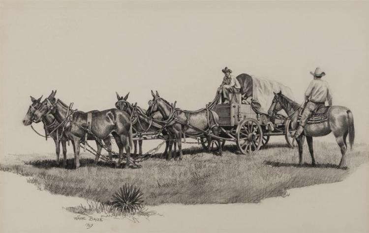Wayne Baize, American (b. 1943), Covered Wagon, 1969, pencil on paper, 11 x 17 inches