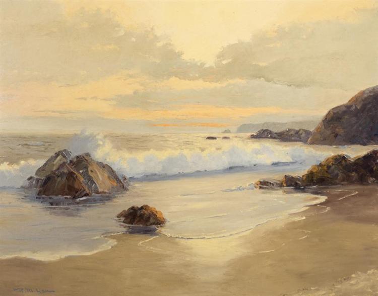R. M. Lau, 20th century, Coastal waves, oil on canvas board, 23 x 28 inches