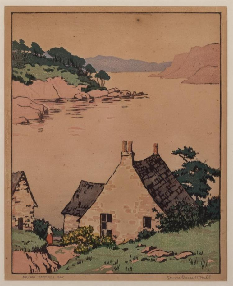 Norma Bassett Hall, American (1889-1957), Portree Bay, color woodcut, edition #82/100, 8 3/4 x 7 inches