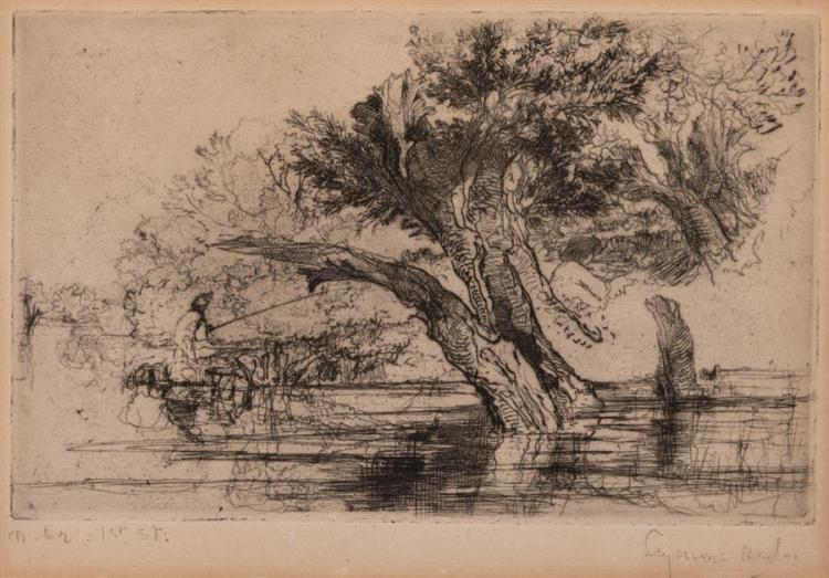Seymour Hayden, British (1818-1910), Fisherman on riverbank, etching, 6 x 9 1/2 inches