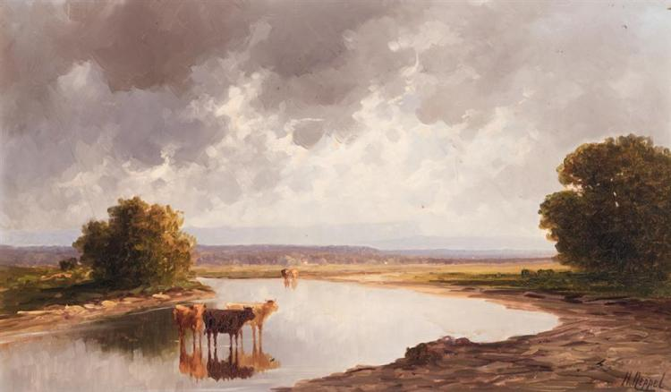 Heinrich Neppel, German (1874-1936), Landscape with cows, oil on canvas, 12 3/4 x 21 1/2 inches