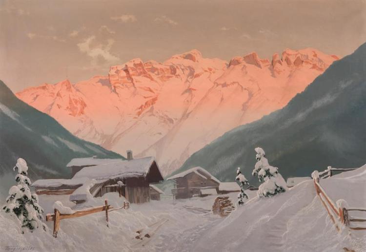 Tony Haller, Austrian (1907-1944), Mountain scene, oil on board, 28 x 38 inches