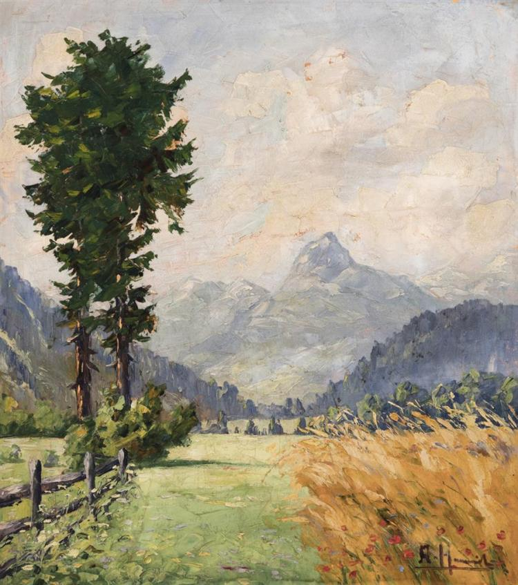 A. Hammil, German, early 20th century, Mountain landscape, oil on paper board, 20 x 18 1/4 inches