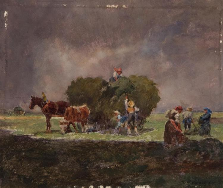 Continental School, 19th-20th century, Figures loading a haywagon, oil on panel, 4 x 4 3/4 inches