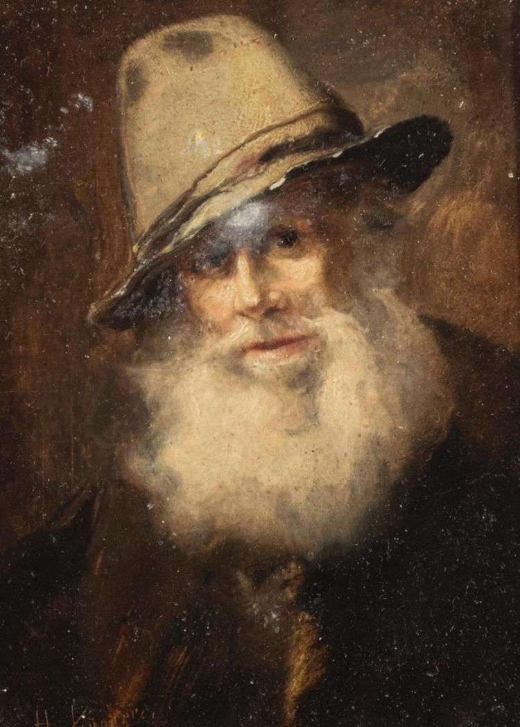 H. V..., 19th century, German School, Portrait of a man, oil on panel, 4 3/4 x 4 inches
