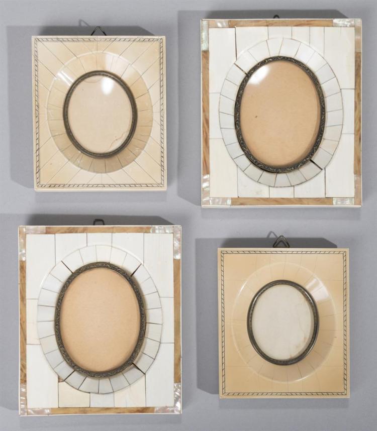 Four Antique Ivory Miniature Frames