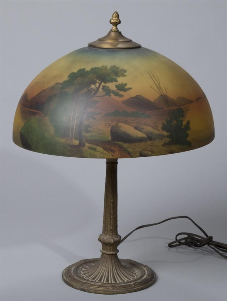 Handel Style Table Lamp with Reverse Painted Glass Shade