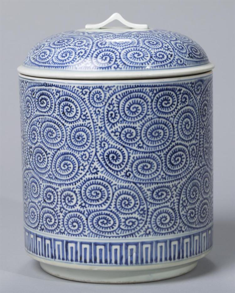 Imari Blue and White Covered Jar