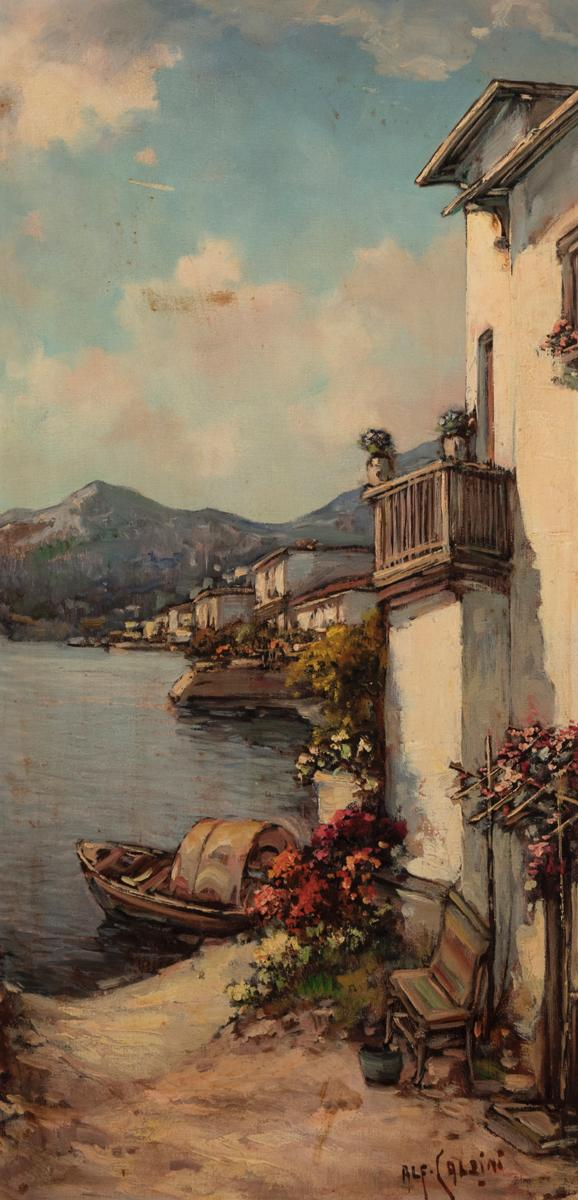 Alford Caldini, Italian, View of a coastal town, oil on canvas, 24 x 12 inches