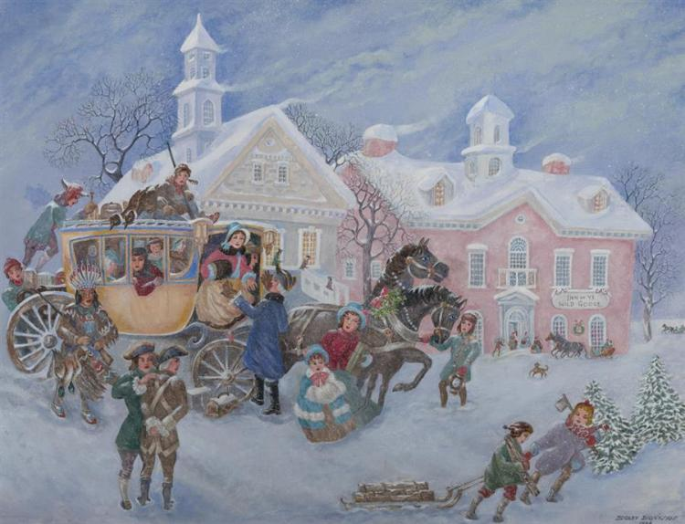 Dooley Dionysus, American, Winter scene with children in horse drawn sleigh, 1984, oil on canvas, 26 x 34 inches