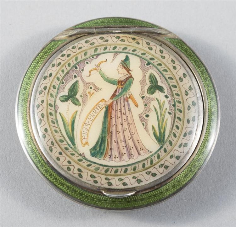 Austrian Guilloche Enamel and Silver-gilt Compact Powder Box