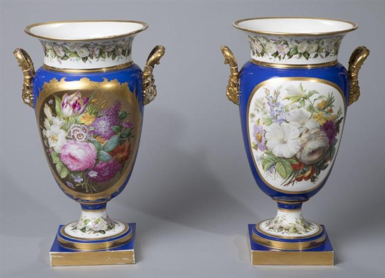 Pair of Continental Hand Painted Porcelain Urns
