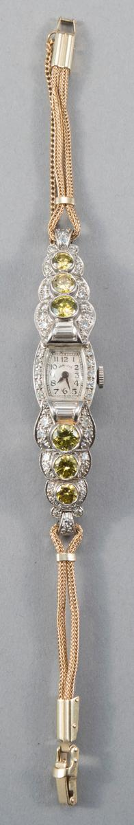 Lady''s Hamilton Art Deco White and Yellow Diamond Wristwatch, Circa 1930