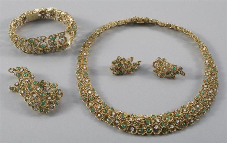 Emerald and Diamond Ensemble; Necklace, Bracelet, Earrings and Brooch