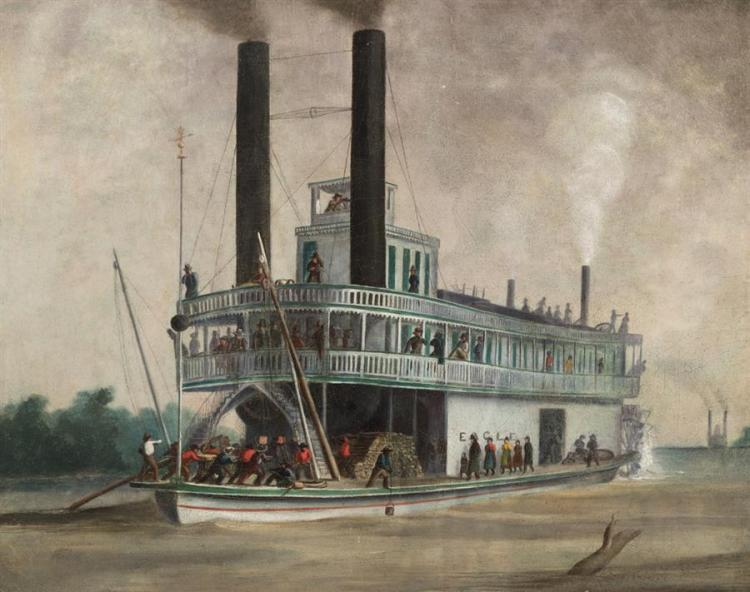Alfred Sully, American (1820-1879), Steamship Eagle of St. Louis, oil on canvas mounted on board, 16 1/2 x 20 1/2 inches