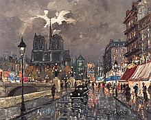 Maurice Brisson, French (b. 1915), Paris at night, Notre Dame, oil on canvas, 24 x 30 inches