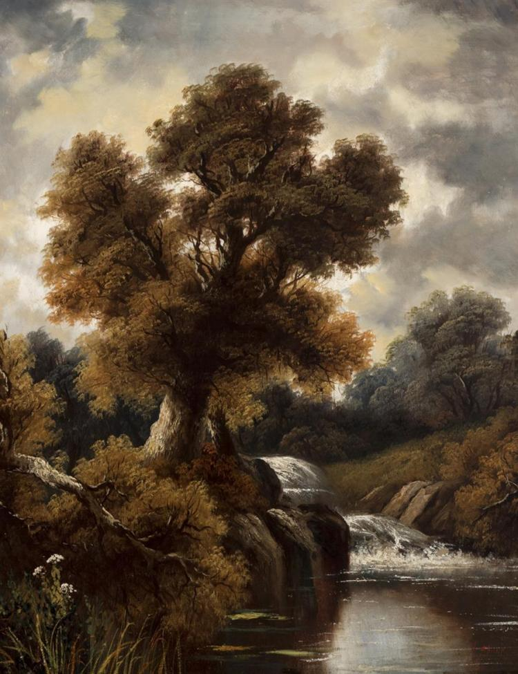 American School, early 20th century, Landscape with waterfall, oil on canvas, 36 x 28 inches