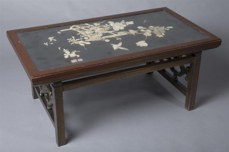 Asian Carved Mineral Opium Table