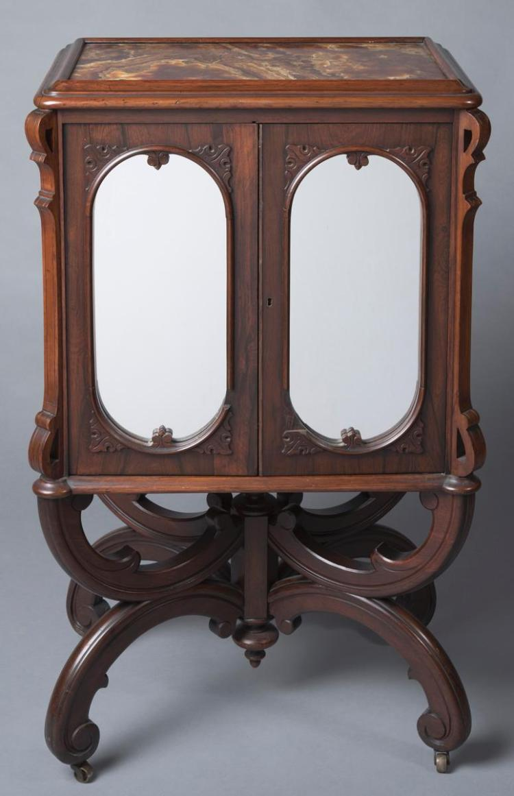 Antique Rosewood French Victorian Renaissance Music Cabinet Provenance: Property from the Estate of Carl G. and Alma C. Stifel
