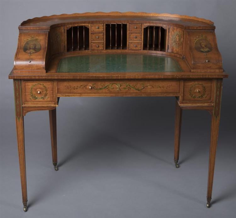 Antique Half Round Writing Desk Provenance: Property from the Estate of Carl G. and Alma C. Stifel