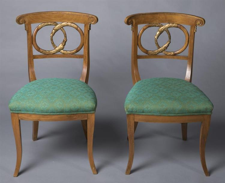 Pair of Louis XV Influence Design Fruitwood Side Chairs