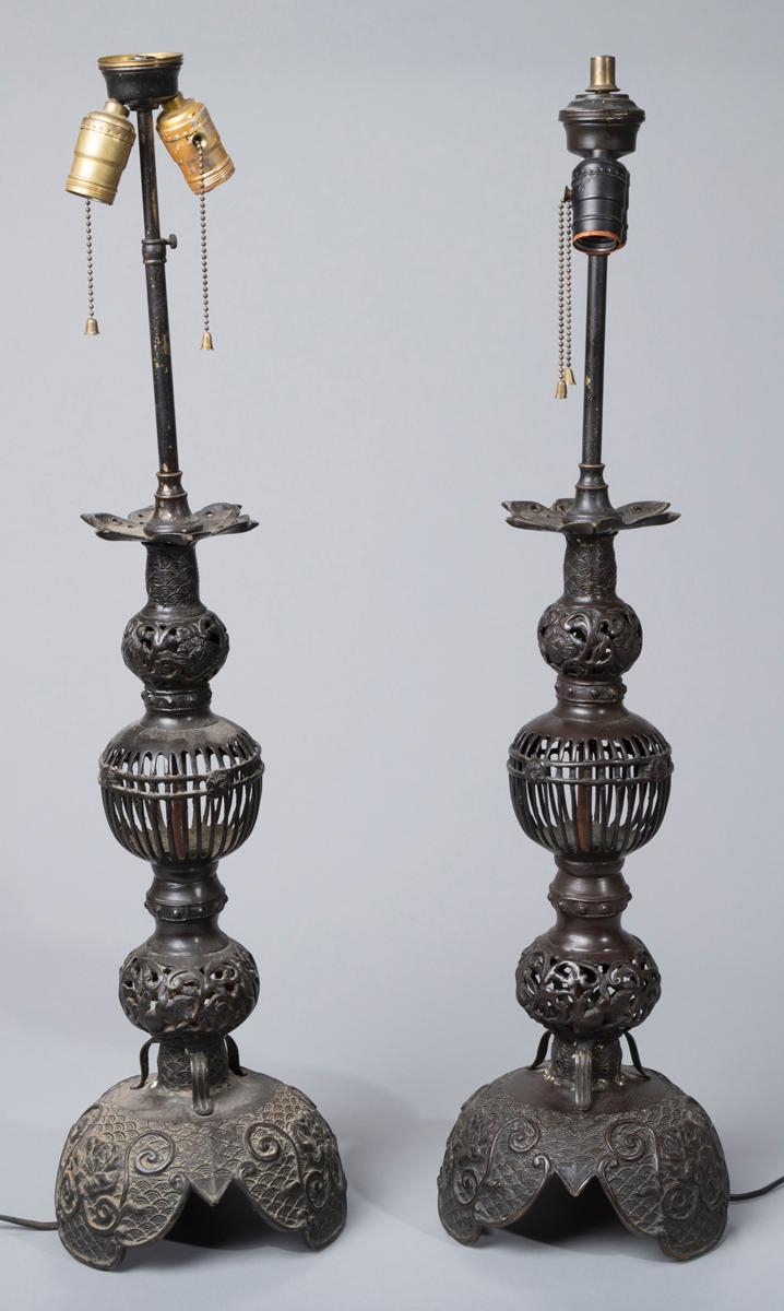 Pair of Bronze Altar Stick Table Lamps Provenance: Property from the Estate of Carl G. and Alma C. Stifel