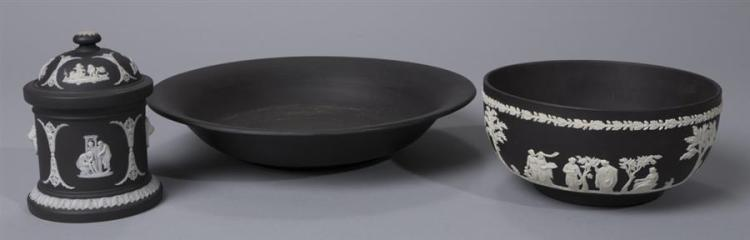 Three pieces of Wedgwood Black Basalt and Jasperware