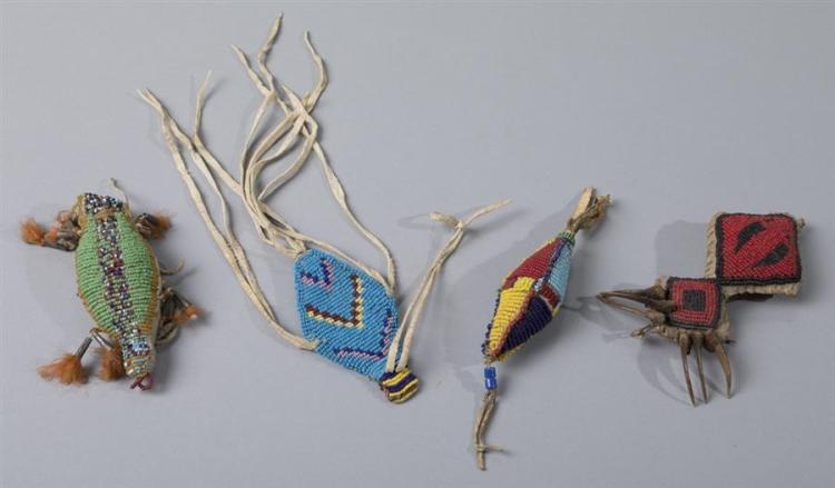 Group of Four Native American Beaded Fetishes
