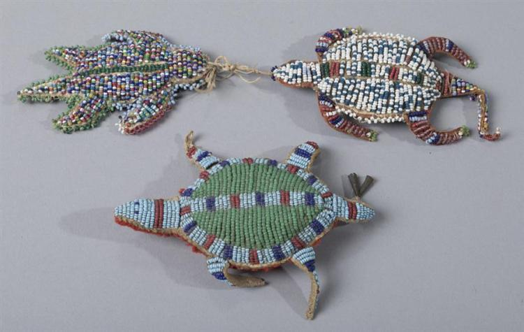 Group of three Native American Beaded Fetishes