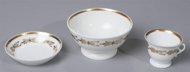 William Ellis Tucker, Philadelphia, Porcelain Bowl, Cup and Saucer