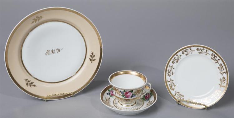 William Ellis Tucker, Philadelphia, Porcelain Plates and Cup