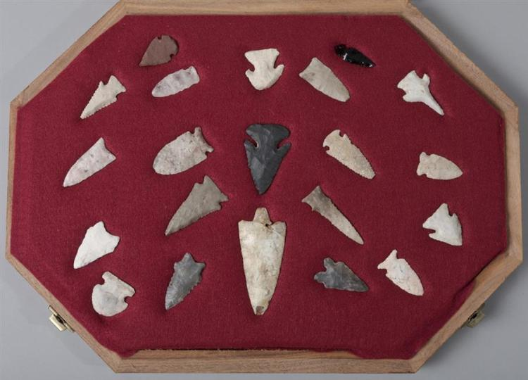 Collection of 21 arrowheads in a fitted display case.