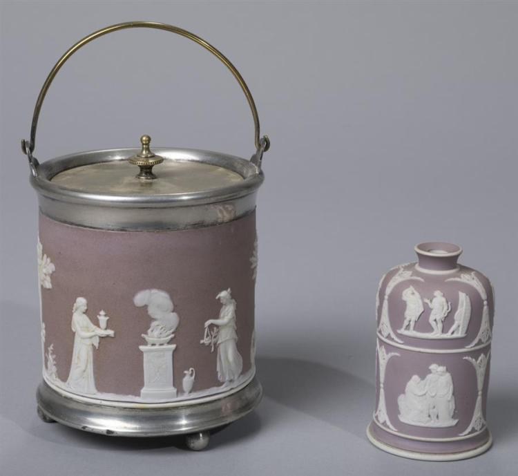 Wedgwood Jasper Dip Biscuit Jar and Match Holder/Striker
