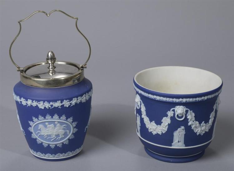 Wedgwood Blue Jasper Dip Jardiniere and Biscuit Jar