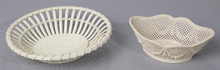 Two Early Wedgwood Creamware Baskets