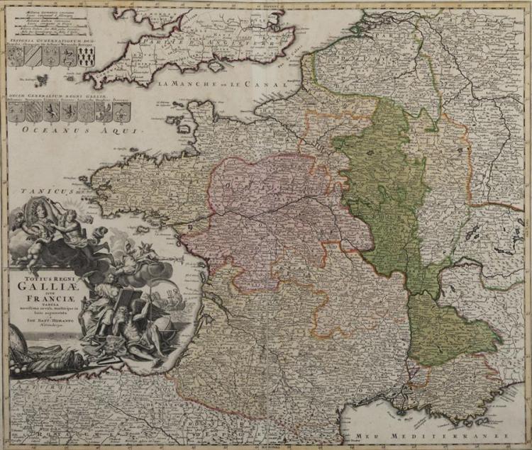 Johann Baptist Homann, (1663-1724), Totius Regni Galliae Sive Franciae Tabula, hand colored engraved map, 20 x 23 1/4 inches (sight)