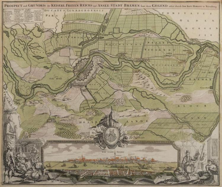 Johann Baptist Homann, (1663-1724), Prospect und Grundris der Keiserl Freyen Reichs und Ansee Stadt Bremen, hand colored engraved ma...
