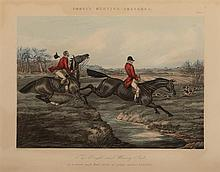 Henry Alken, British (1785-1851), Fores''s Hunting Sketches, six scenes, hand colored engravings, 14 1/4 x 18 inches