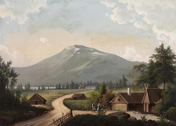 B. Baldore, Continental School, late 19th century, Alpine farm village, oil on canvas, 26 x 36 inches