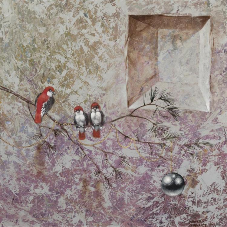 Siegfried Reinhardt, American (1925-1984), Birds on a branch, 1971, oil on board, 23 x 23 1/2 inches