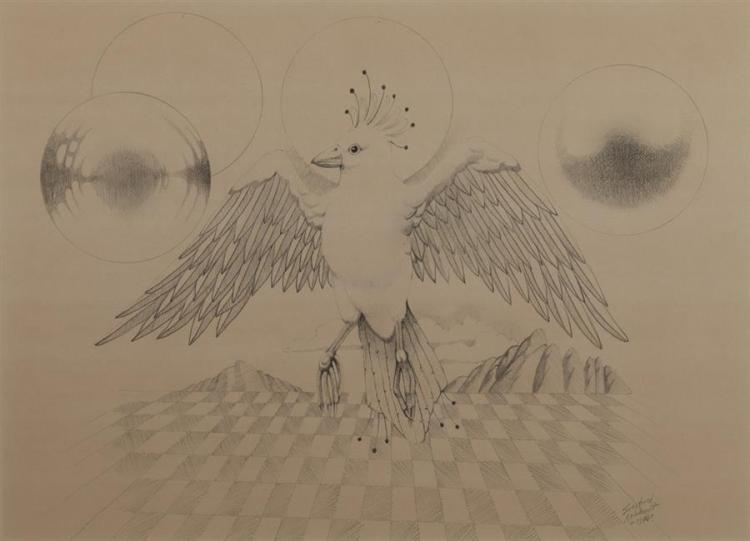 Siegfried Reinhardt, American (1925-1984), Bird with outstretched wings, 1977, pencil on paper, 13 x 17 1/2 inches (sight)