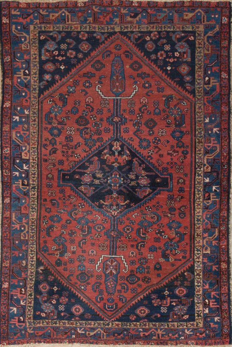 Antique Hamadan Throw Rug