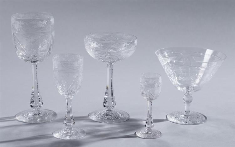 Cut and Etched Crystal Stemware Property from the estate of Carl G. and Alma C. Stifel