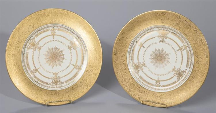 Twelve Heinrich & Co, Bavaria, Gilt Porcelain Plates Property from the estate of Carl G. and Alma C. Stifel