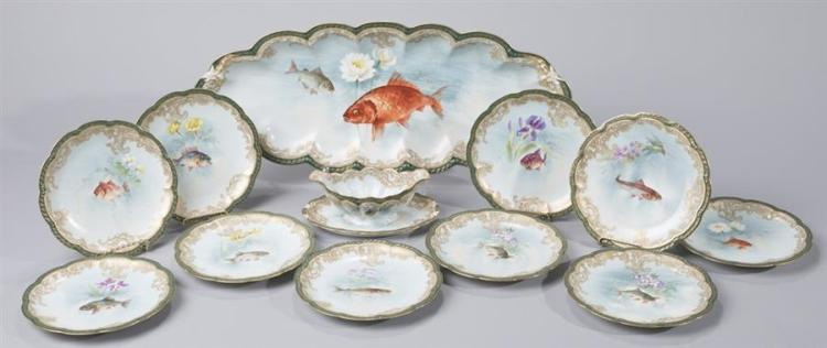 Twelve-piece Haviland, Limoges, Porcelain Fish Service Property from the estate of Carl G. and Alma C. Stifel