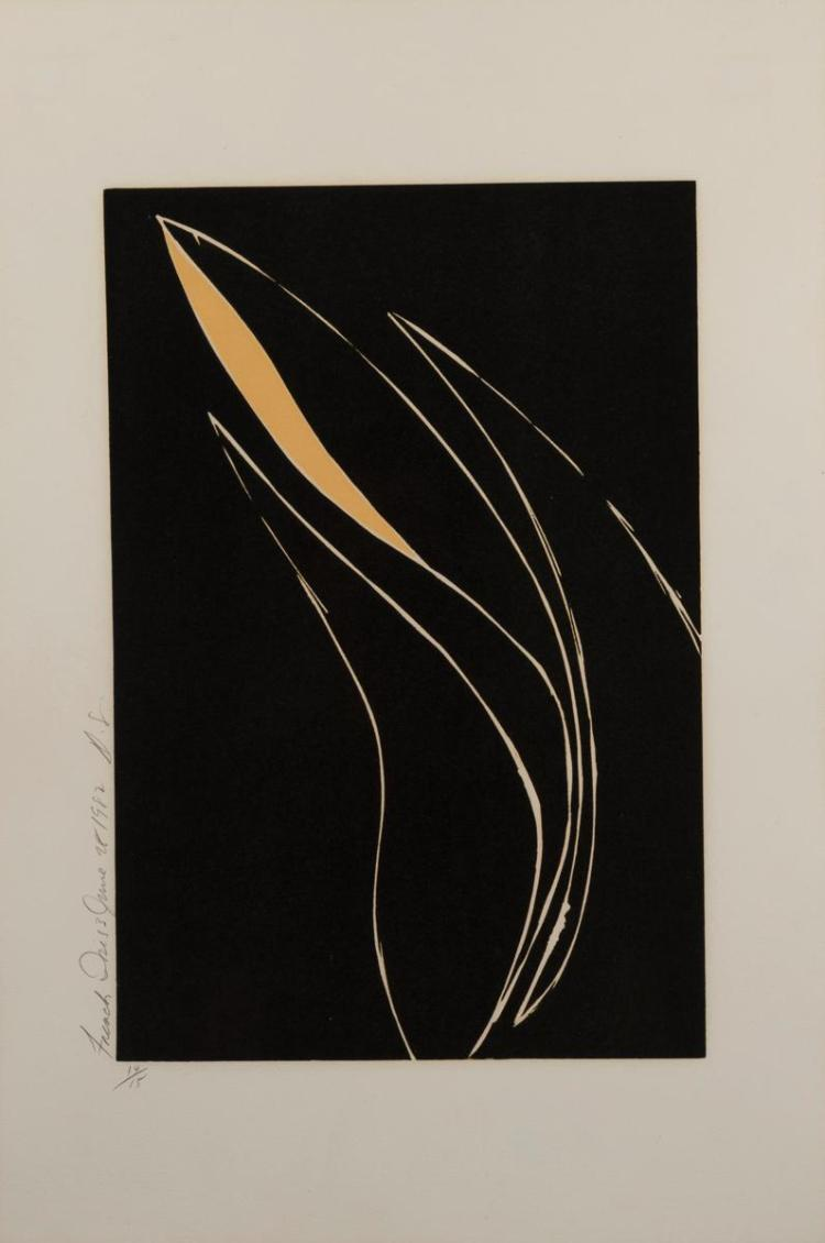 Donald Sultan, American (b. 1951), French Iris 3, June 28th, 1982, color etching, edition #14/15, 10 1/4 x 15 1/2 inches