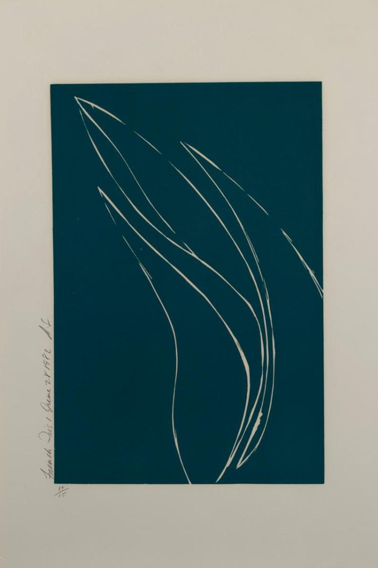 Donald Sultan, American (b. 1951), French Iris I, June 28th, 1982, color etching, edition #14/15, 10 1/4 x 15 1/2 inches