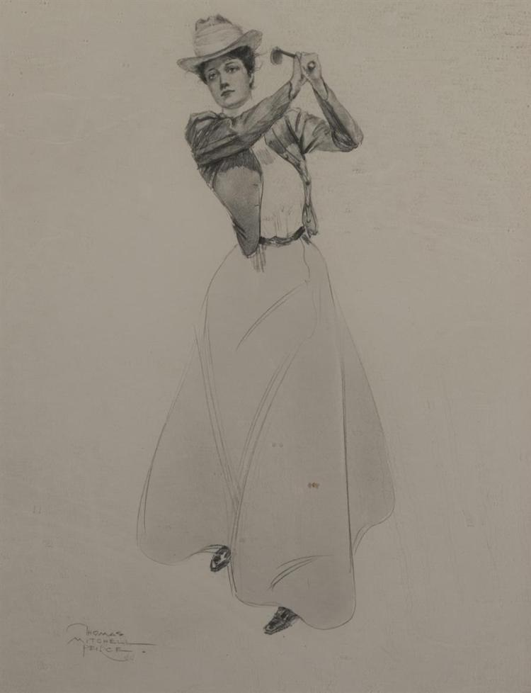 Thomas Mitchell Pierce, American (1864-1929), Female Golfer, pencil on paper,