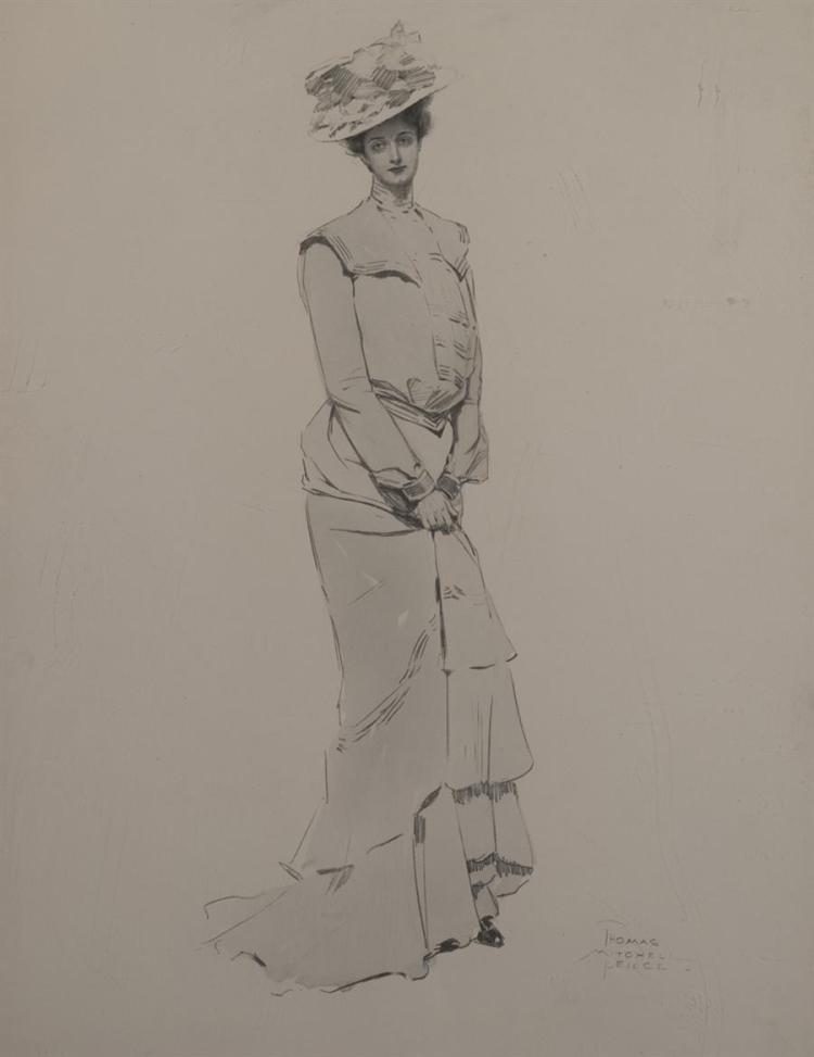 Thomas Mitchell Pierce, American (1864-1929), Portrait of an elegant lady, pencil on paper,